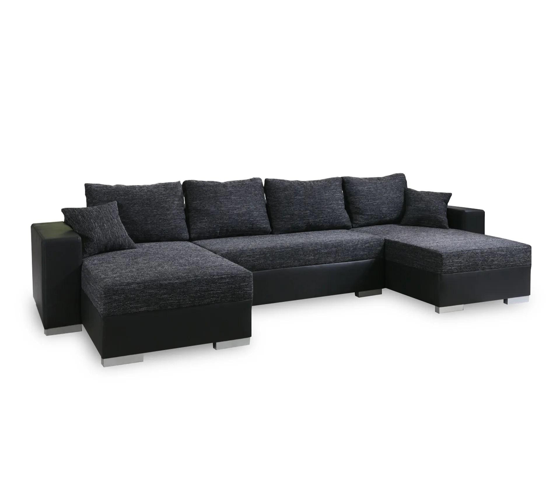 canape dangle convertible panoramique 5 a 6 places enno tissu et simili cuir noir