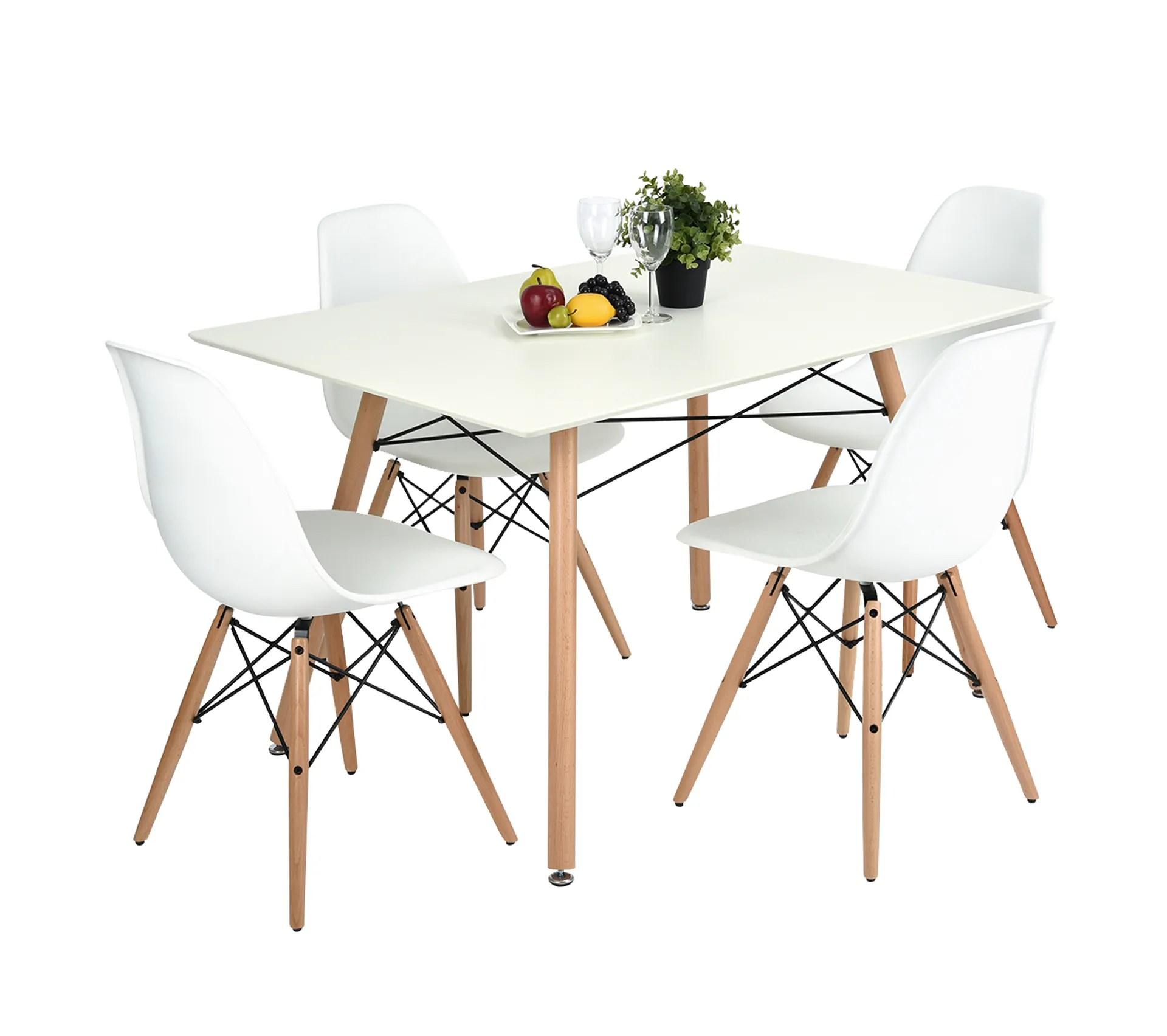 ensemble table a manger rectangulaire 110 70 et 4 chaises scandinave blanc bois