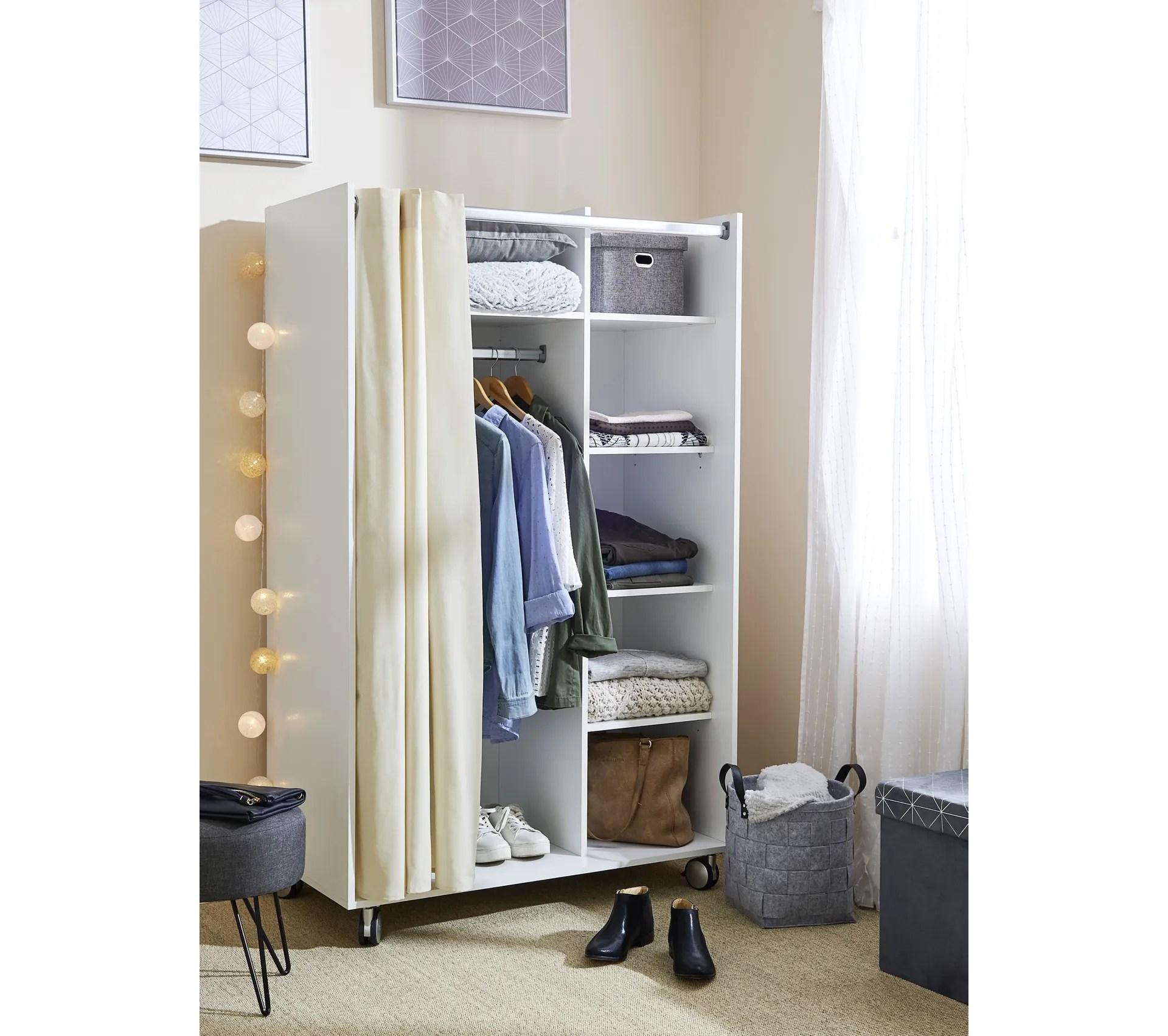 kit dressing avec rideau l 100 cm move blanc