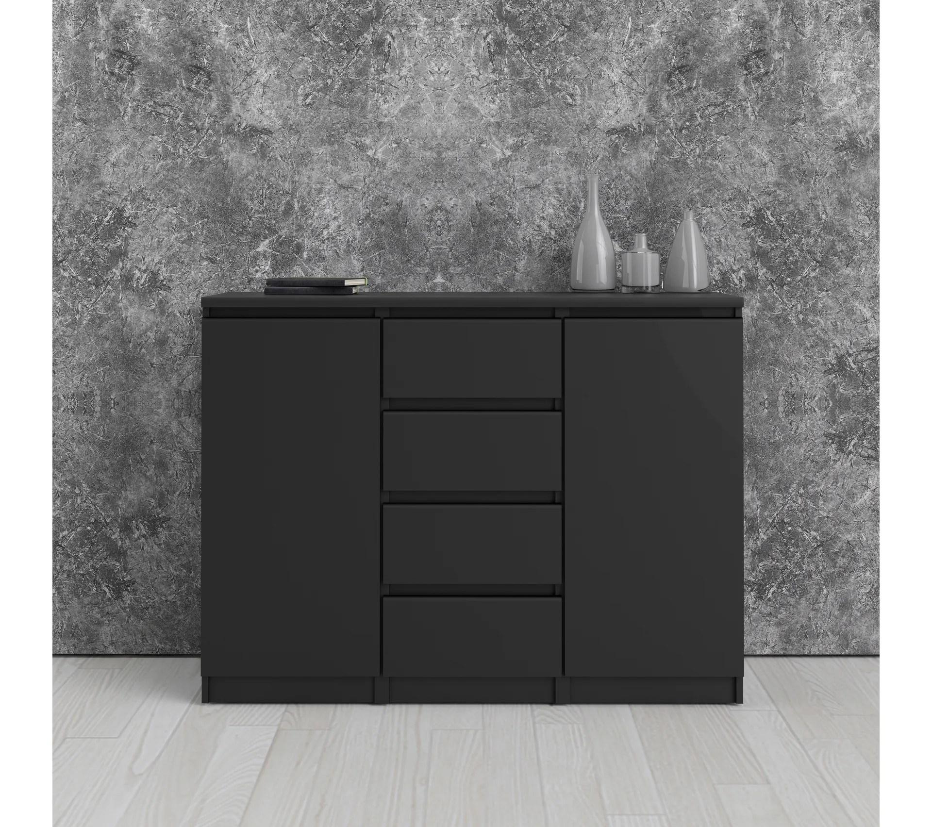 rangement 2 portes 4 tiroirs best lak noir mat