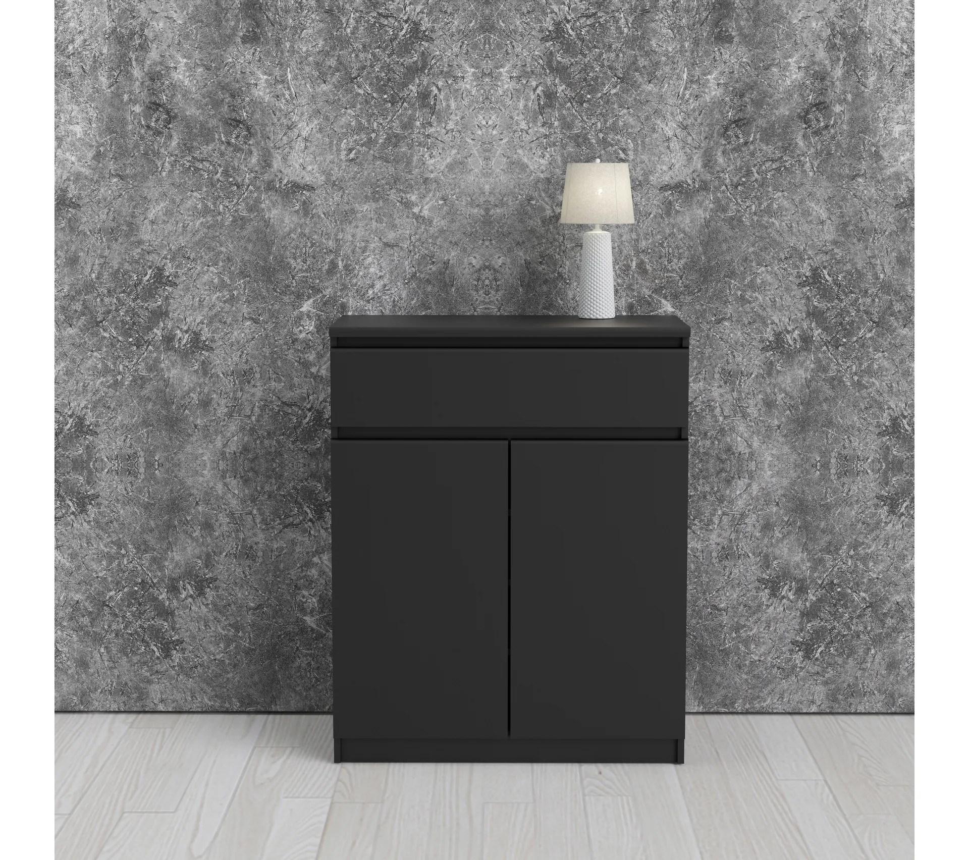 rangement 2 portes 1 tiroir best lak noir mat