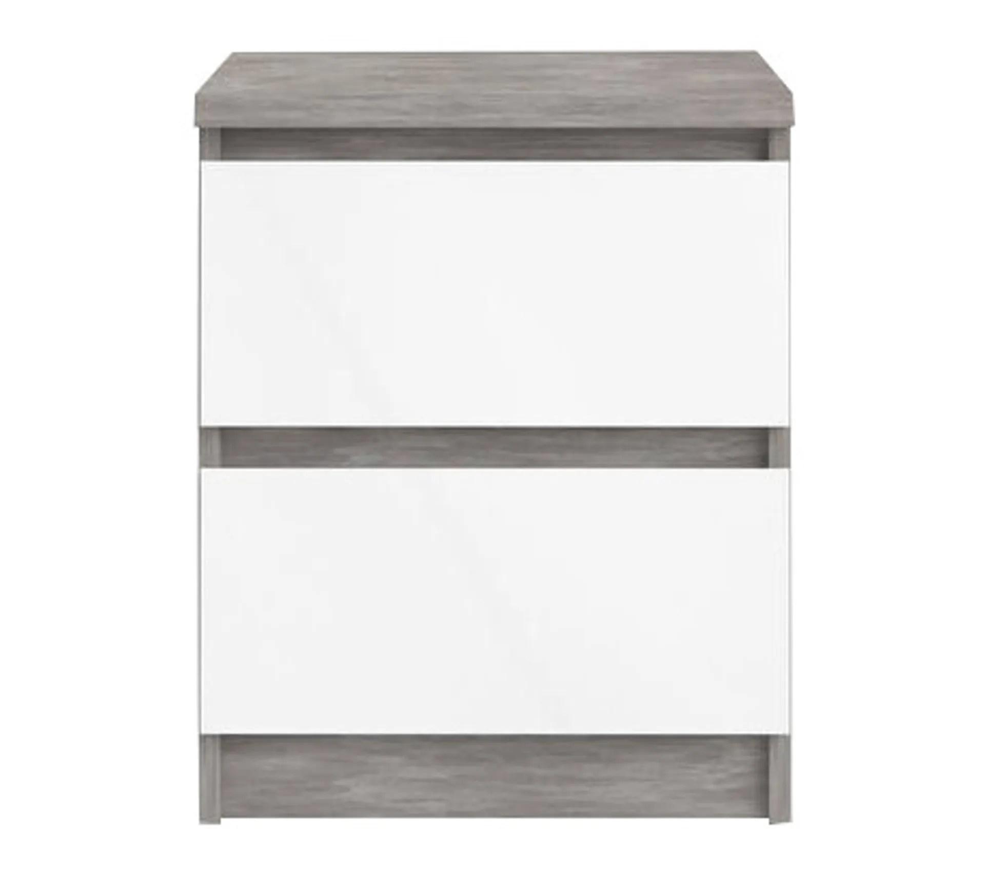 chevet 2 tiroirs best lak blanc laque beton