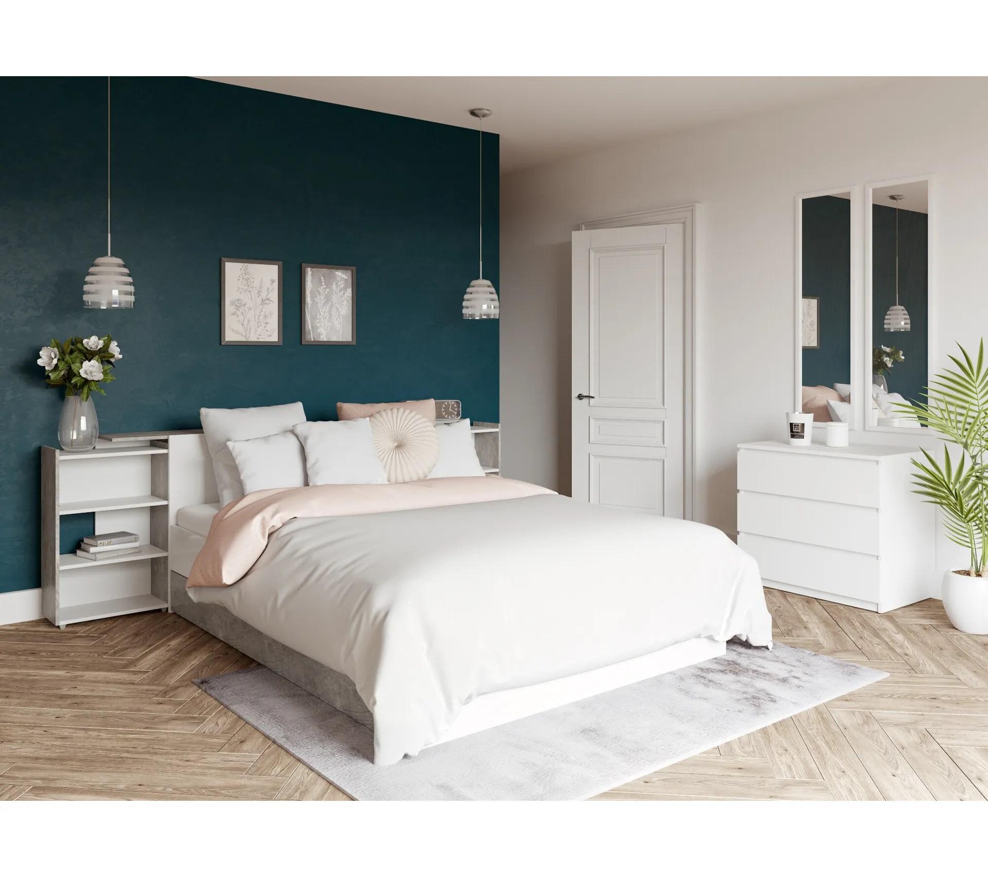 tete de lit 140 cm avec best lak rangement blanc laque beton