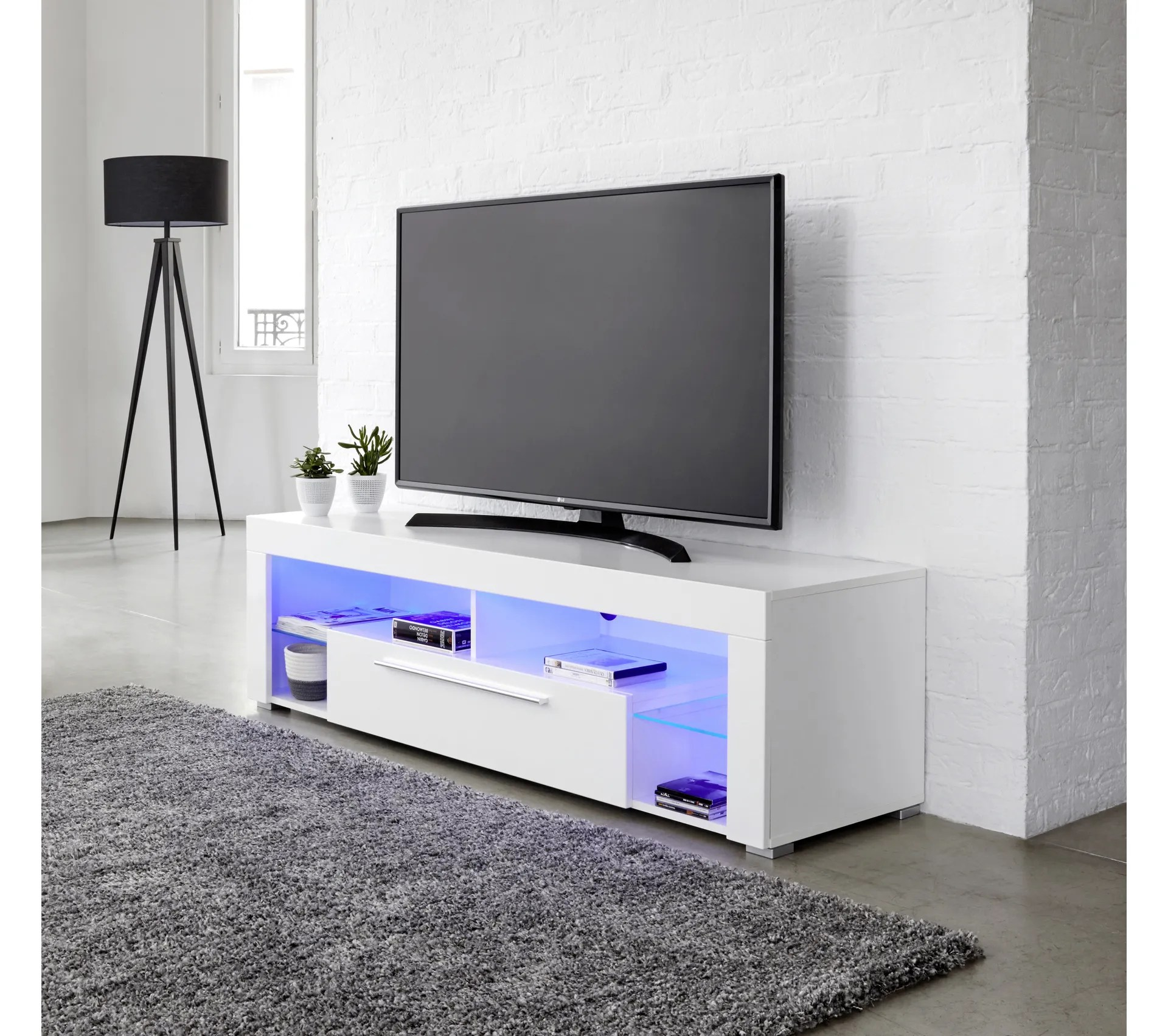 meuble tv avec led integree goal blanc brillant