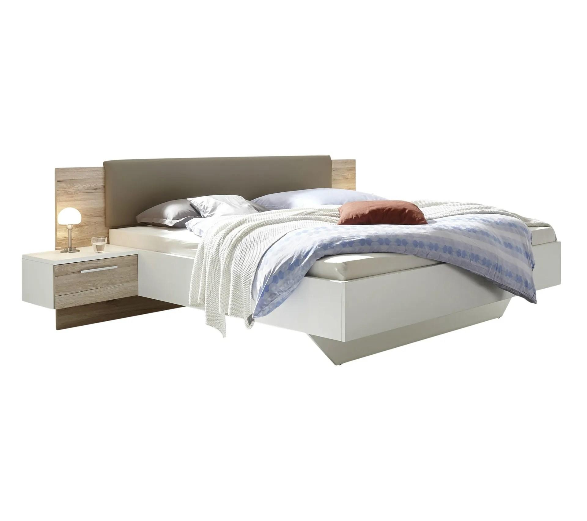 lit 160x200 cm avec chevets suspendus gravita imitation chene et blanc