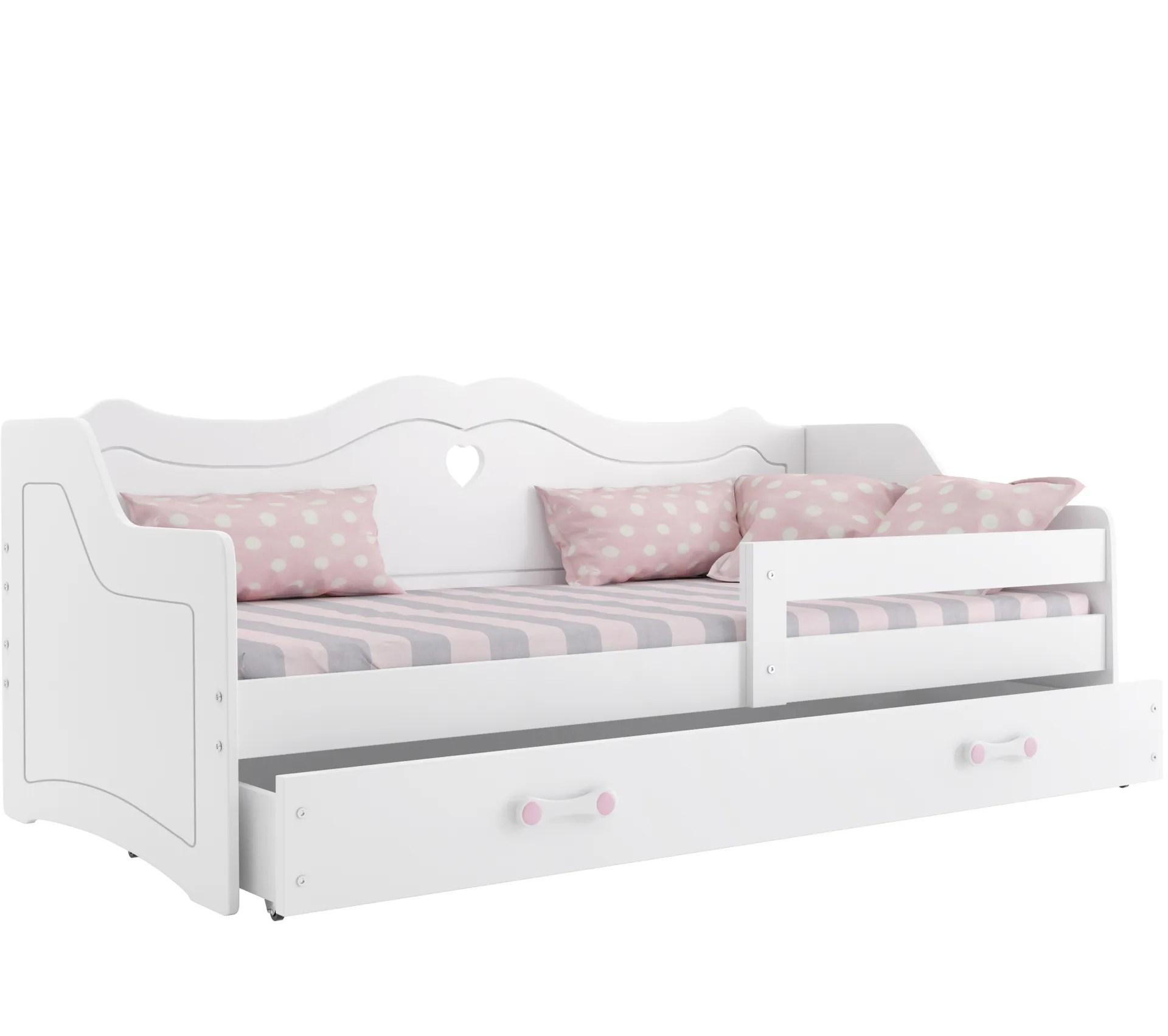 lit enfant julie 80x160 avec matelas sommier et tiroir en blanc