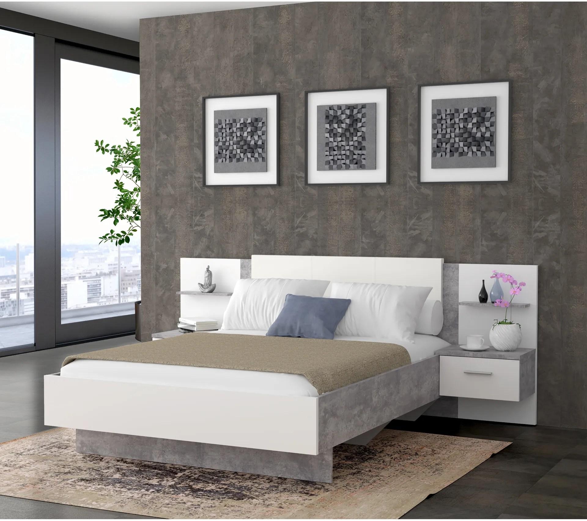 lit 140x190 cm 2 chevets suspendus ginger beton gris clair et blanc mat