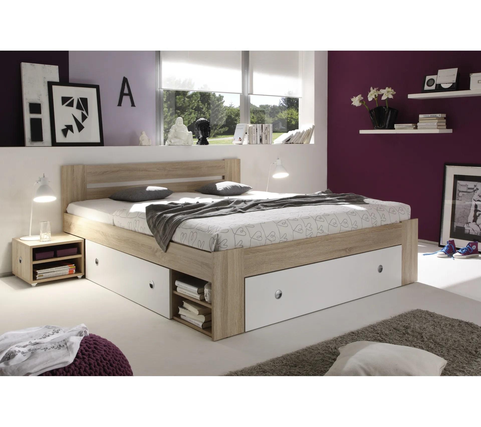 lit avec rangement 140x200 cm stefan chene et blanc