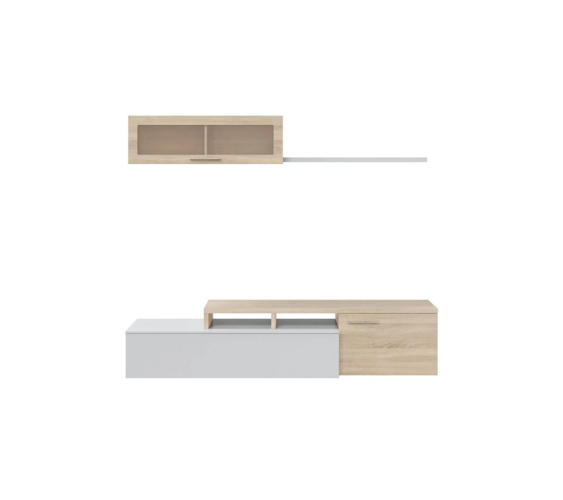 ensemble meuble tv dangle ou droit nexia bois et blanc