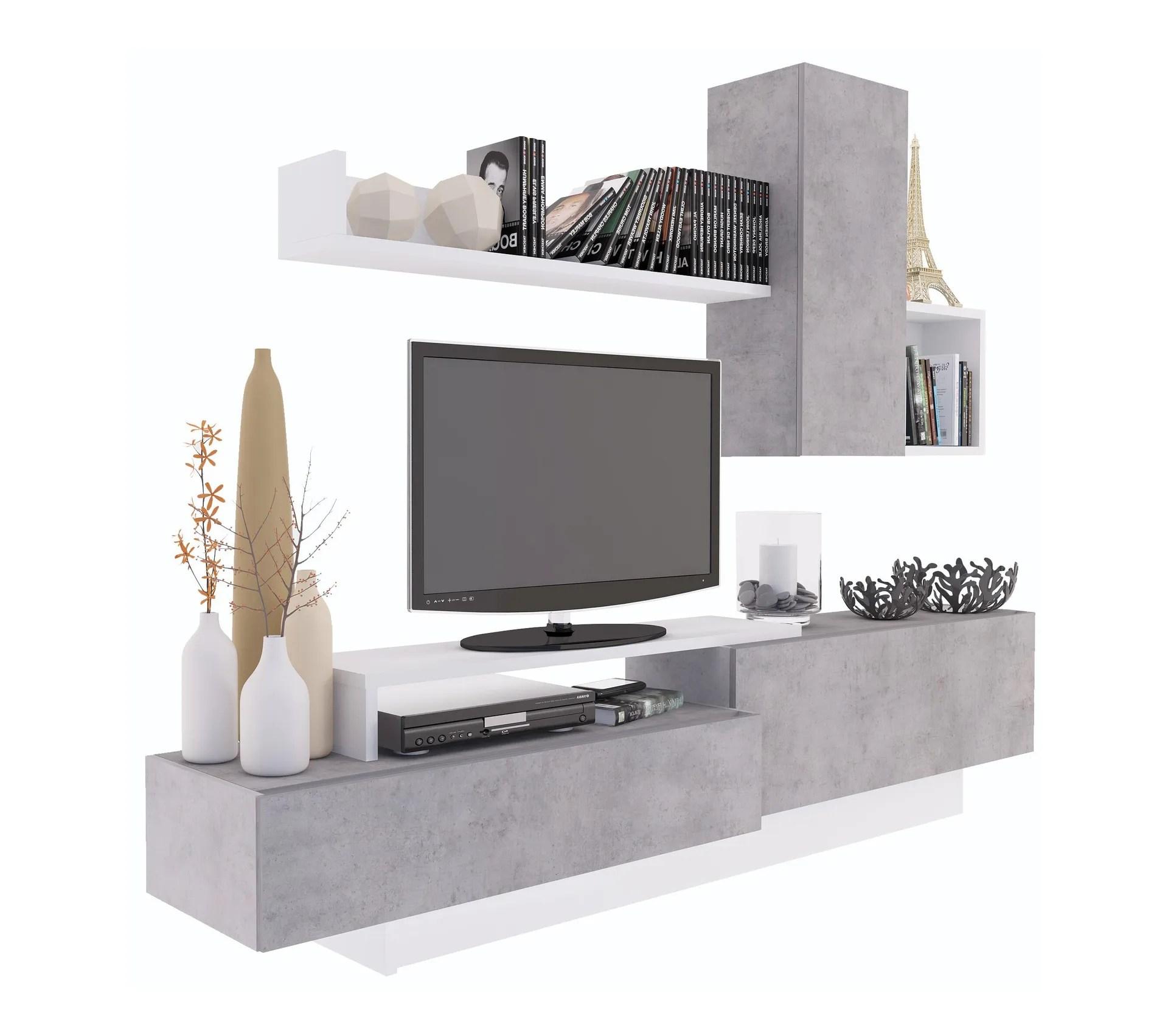 meuble tv kastle imitation beton et blanc