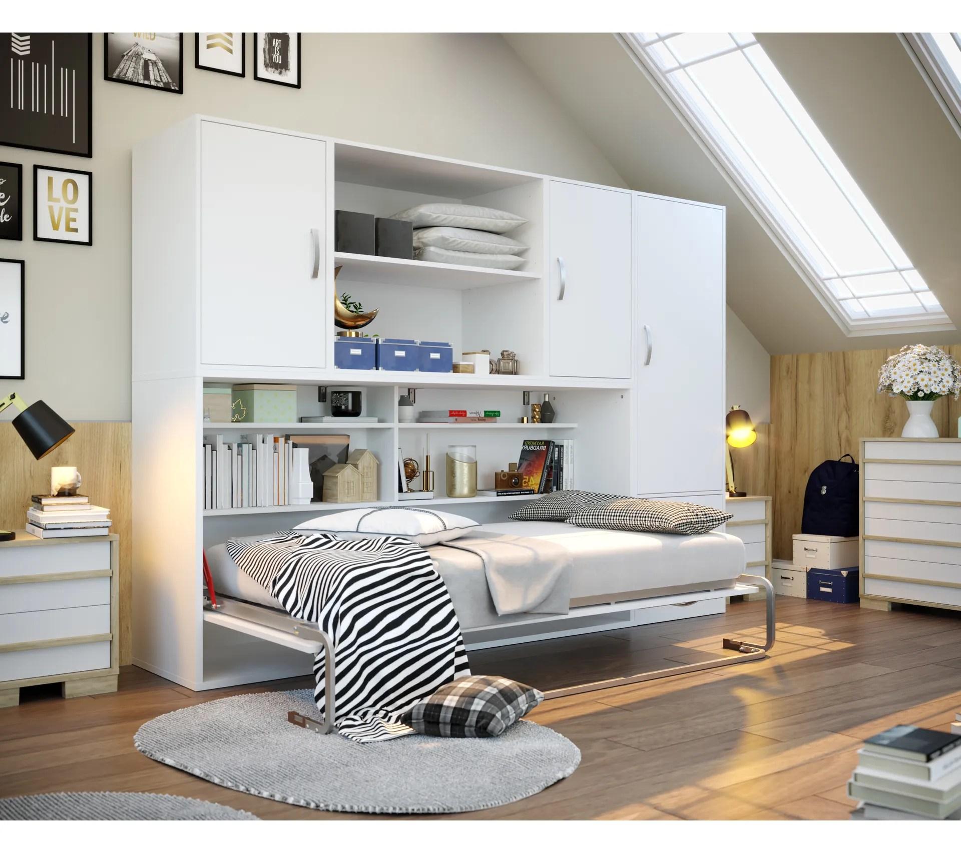 lit escamotable 90x190 cm avec rangement pratiko blanc