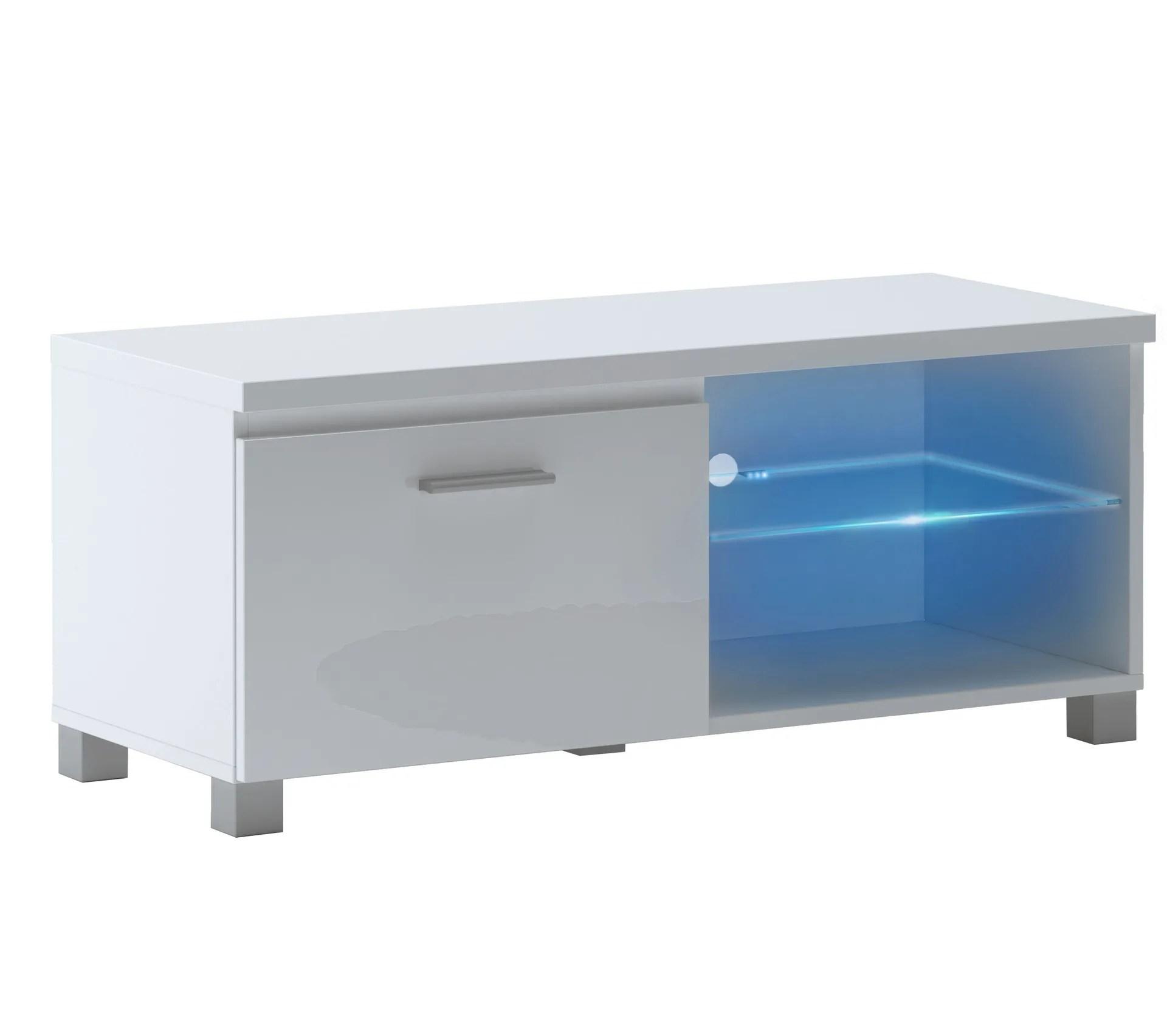meuble bas tv led blanc mate et blanc laque