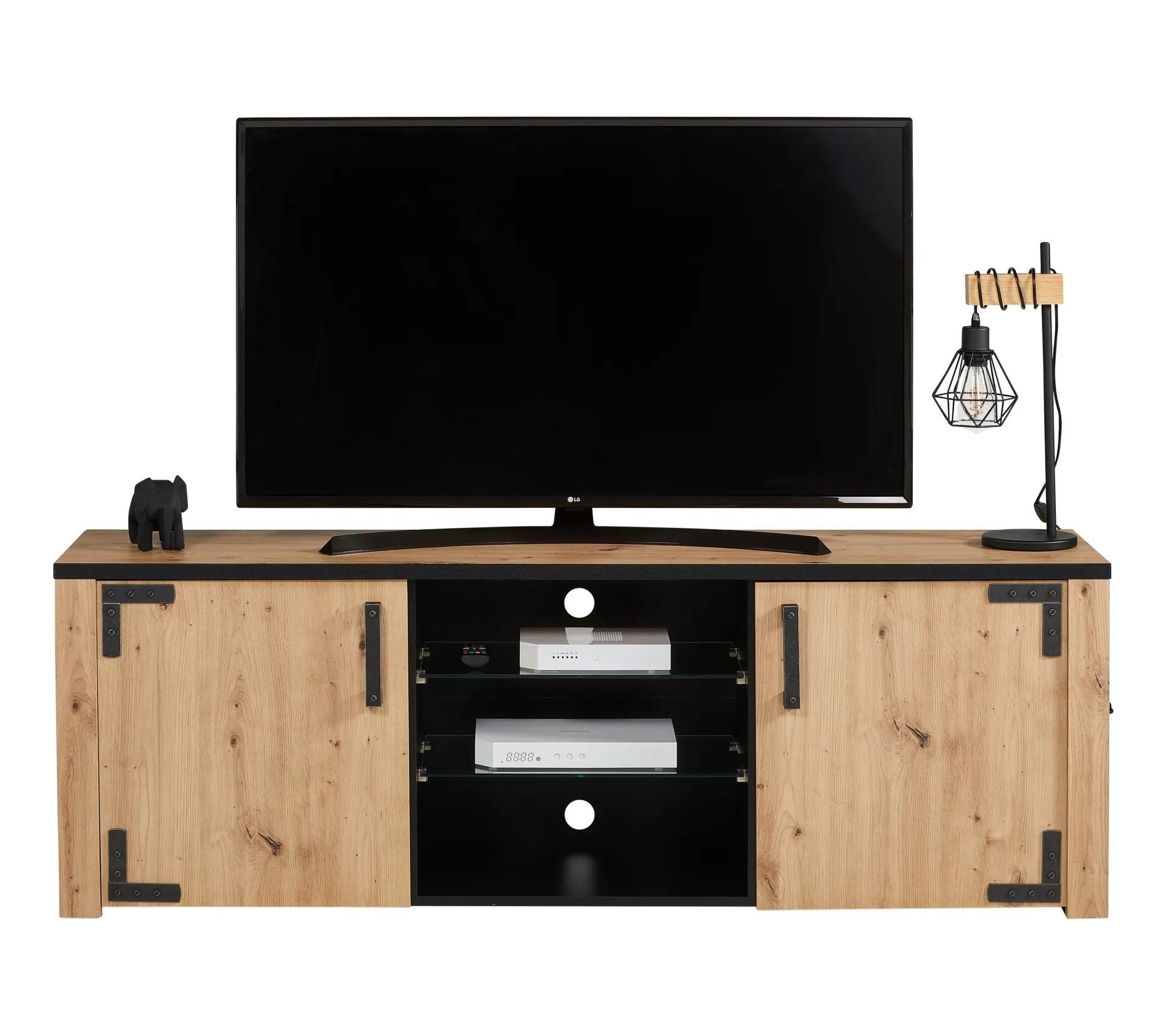meuble tv lazio noir imitation chene
