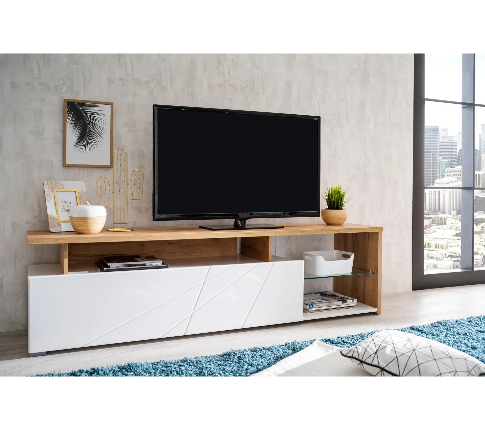 meuble tv l 170 arctic chene blanc