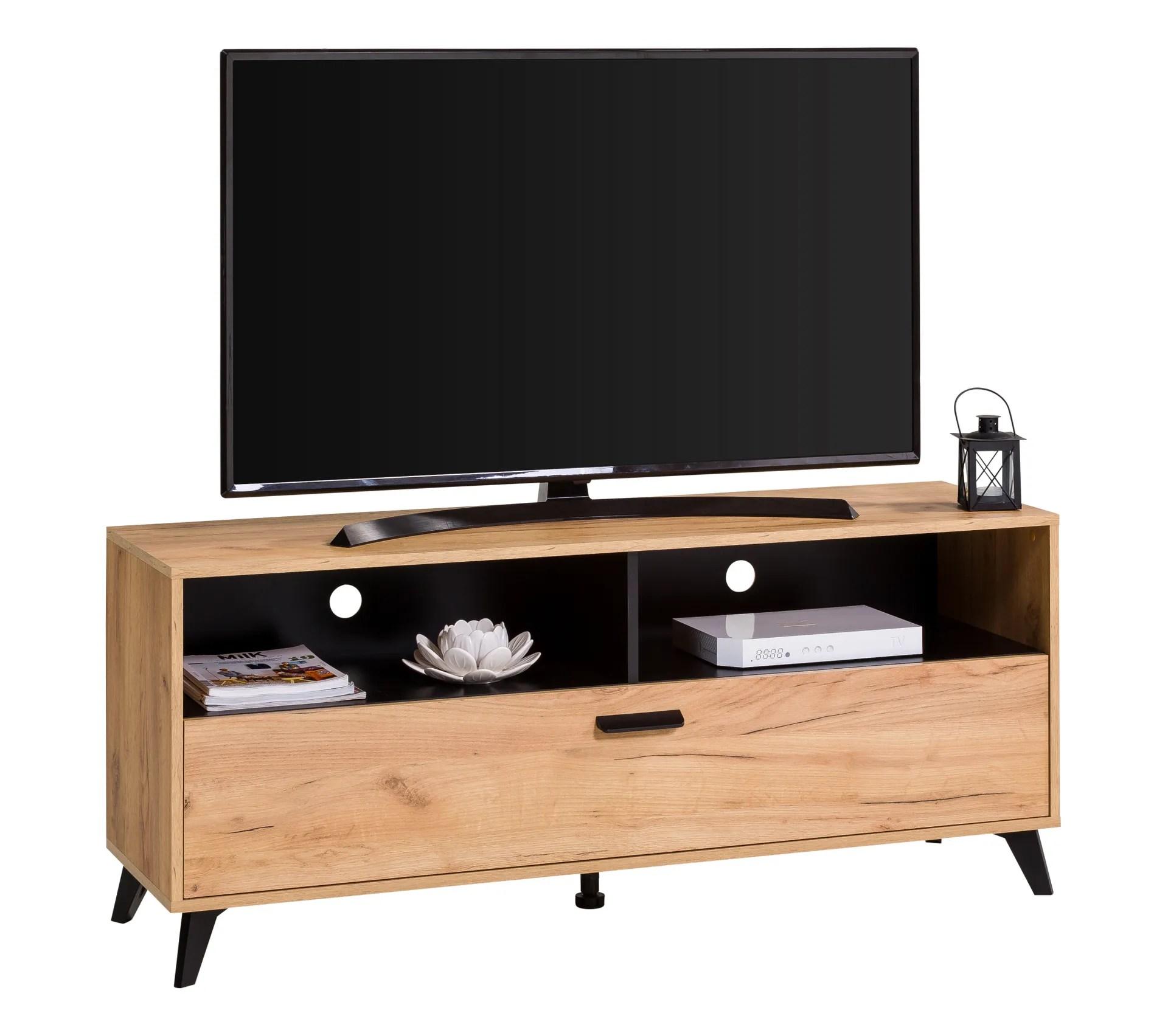 meuble tv industriel umbria decor imitation chene noir