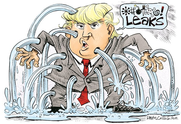 Image result for cartoons president trump and leaks