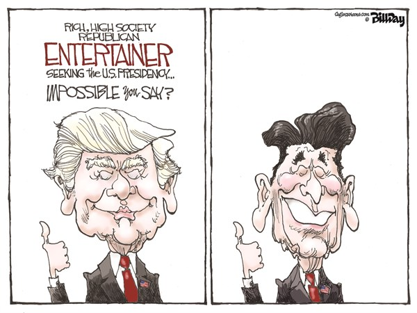 Image result for cartoons reagan and trump