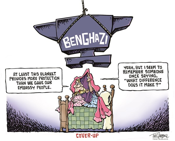 Image result for cartoon obama and clinton benghazi lies