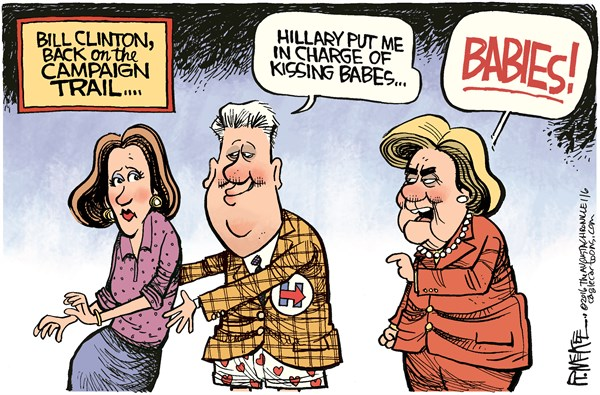 Image result for cartoons about bill clinton attacks on women