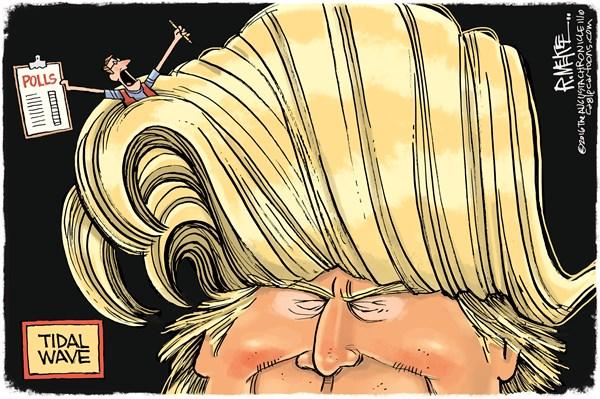 Rick McKee - The Augusta Chronicle - Trump Tidal Wave - English - Trump, polls, media