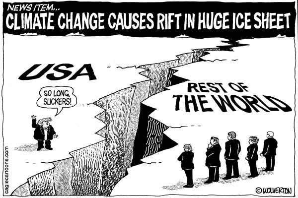 Wolverton - Cagle Cartoons - Paris Accord Rift - English - Trump, Global Warming, Climate Change, Antarctic Ice Shelf, Iceberg, Ice Sheet, Paris Accord, Larson C Ice Shelf