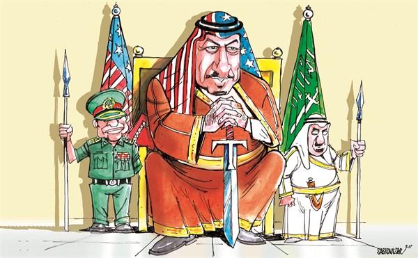 Sabir Nazar - Cagle.com - New Wardrobe of Saudi King - English - Saudi Arabia, Middle East, Islamic Military Alliance against terrorism, Qatar, UAE, Bahrain, Donald Trump, Islamic State ISIS, Iraq, Syria,Egypt, Mali, Chad, Somalia and Nigeria, King Salman, US, arms deal