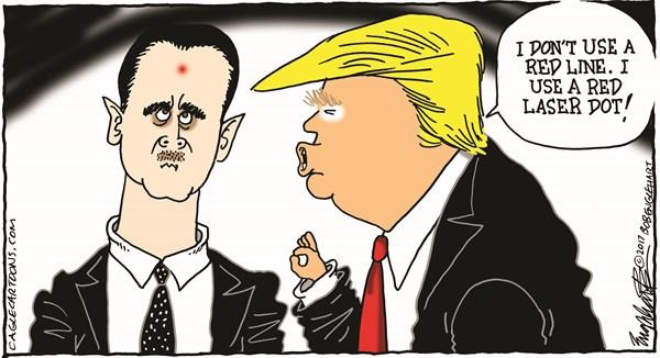Bob Englehart - CagleCartoons.com - Trump Attacks Assad - English - missile attack,assad,bashar,syria,isis