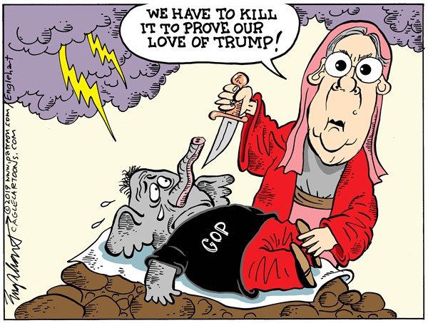 Mitch McConnell, Bob Englehart,Middletown, CT,Mitch McConnell, Republican Party, Republicans, GOP, Grand Old Party, Abraham, Isaac, Sacrifice, Kill, Destoy, Conservatives, Evangelical, Bob Again, Christian, Charismatic, Christ, Englehart cartoon