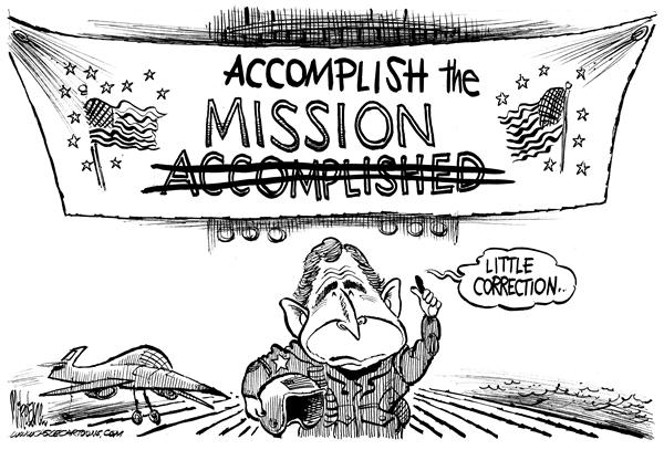 Bush's mission accomplished in Iraq, cartoon