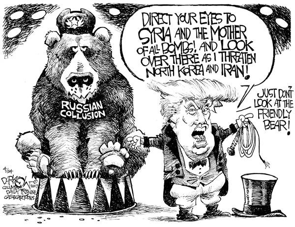 John Darkow - Columbia Daily Tribune, Missouri - Distraction From Russia - English - Donald Trump, Russia, Russian Election Meddling, Syria, North Korea, Iran