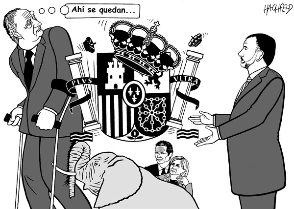 King of Spain resigns, cartoon