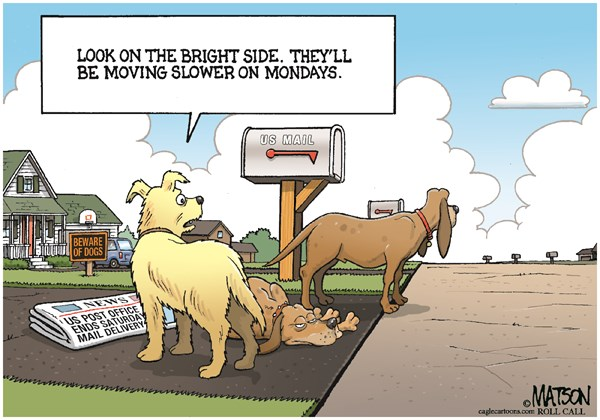 128392 600 Dogs Lament End of Saturday Mail cartoons