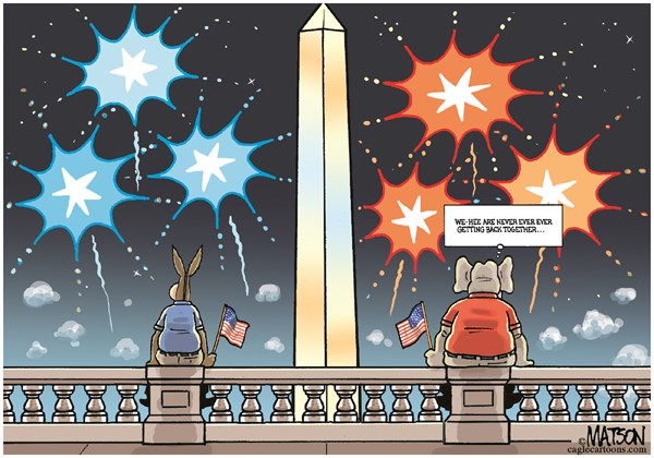RJ Matson -  - Partisan Divide Fireworks Display-COLOR - English - Partisan Divide Fireworks Display, July 4, Independence Day, Fireworks, Capitol, Congress, Republicans, Democrats, Broken Government