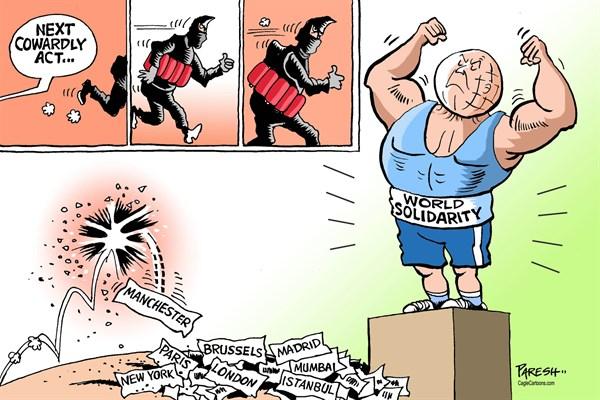 Paresh Nath - The Khaleej Times, UAE - Solidarity against terror - English - World Solidarity, terror acts, Cowardly act, Daesh, ISIS, bomb blasts, suicide bomber, Manchester, Paris, London, New York, Madrid, Mumbai, Brussels, Nice, Berlin, Oslo