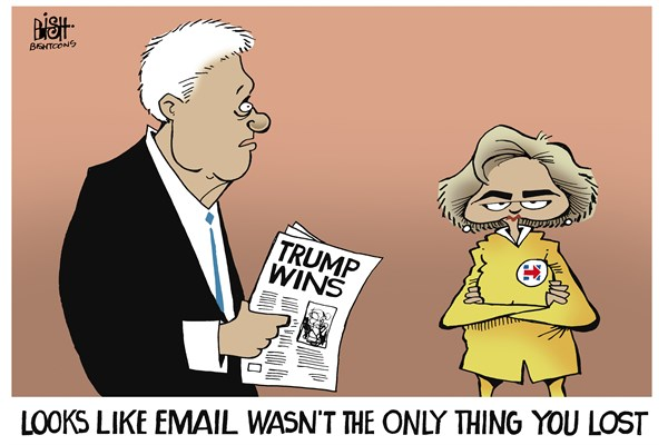 Image result for cartoons trump wins hillary loses