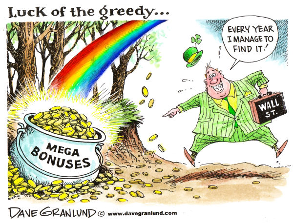 United States economic crisis and Wall Street bonuses, cartoon