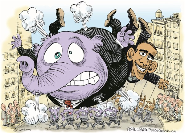Thanksgiving Day Balloons © Daryl Cagle,CagleCartoons.com,Macys Thanksgiving Day Parade,elephant,GOP,Republican,balloon,New York,Barack Obama,political thanksgiving, thanksgiving 2012
