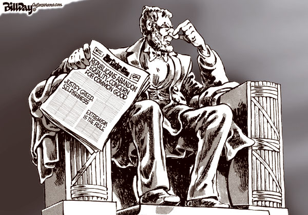 Not the Party of Lincoln © Bill Day,Cagle Cartoons,GOP, Lincoln, civil rights, extremism