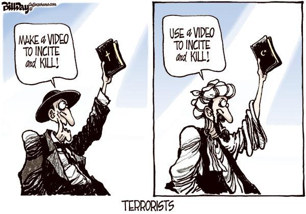 Holy Book Bigots © Bill Day,Cagle Cartoons,mideast, Bible, Koran, video, terrorists