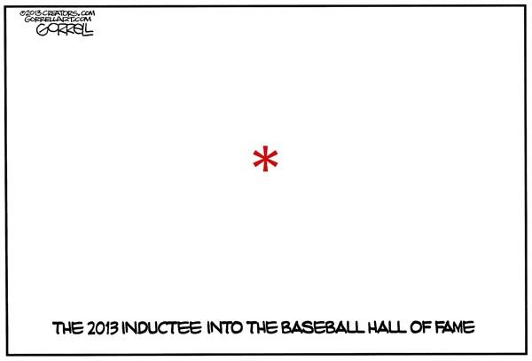 Baseball Hall of Fame © Bob Gorrell,National/Syndicated,inductee,baseball,hall,fame,asterik