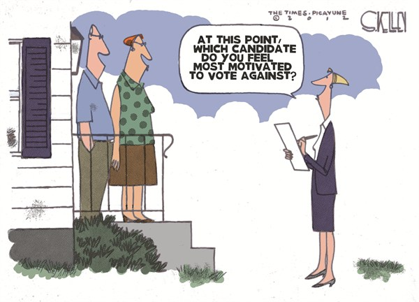 Voting for Candidates © Steve kelley,The New Orleans Times, Picayune,voting,candidates,obama,romney,polls,voters,election