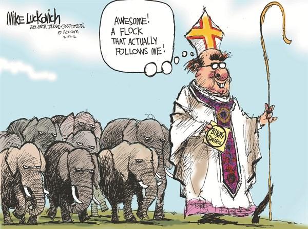 GOP Flock © Mike Luckovich,The Atlanta Journal Constitution,GOP,flock,birth control,catholic,religion,women