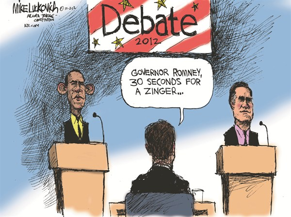 Debate Zinger © Mike Luckovich,The Atlanta Journal Constitution,romney,obama,debate,zinger,campaign,election,romney-obama-debate