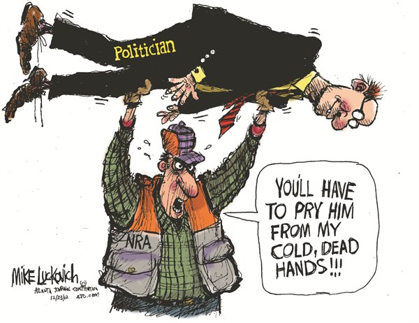 Cold Dead Hands © Mike Luckovich,The Atlanta Journal Constitution,politicians,guns,weapons,rights,freedom,violence,gun debate 2012, nra