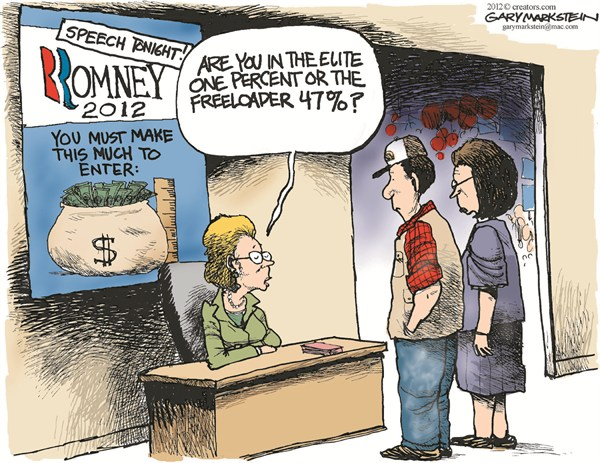Romney Speech Entrance © Gary Markstein,The Milwakee Journal Sentinel,romney,speech,freeloader,campaign,election,1-percent,47-percent,romney-video-leak