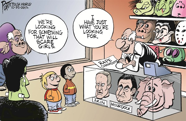 Scare the Girls © Bruce Plante,Tulsa World,political halloween,halloween 2012,murdoch,akin,rape,comments