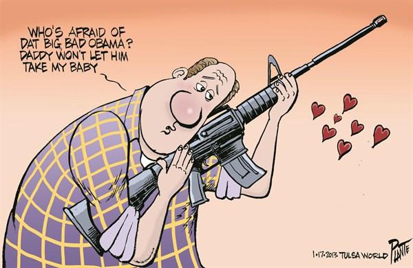 Big Bad Obama © Bruce Plante,Tulsa World,obama,laws,weapons,assault weapons,guns,guns, nra, NRA 2012, obama guns, second amendment