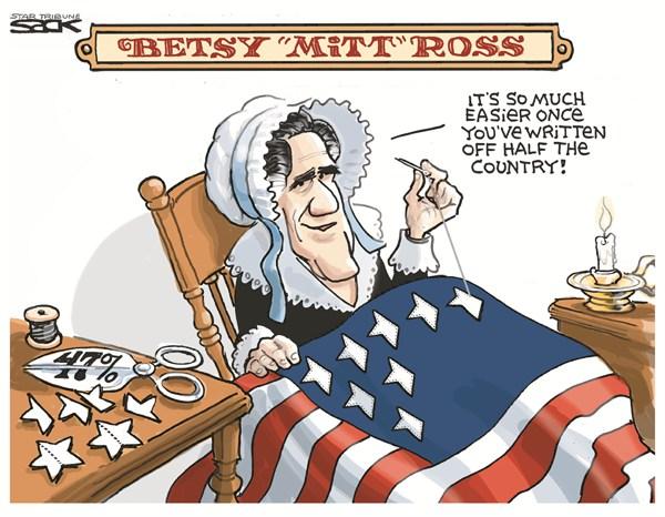 Betsy Mitt Ross © Steve Sack,The Minneapolis Star Tribune,romney,video,country,leak,taxpayers,romney-video-leak