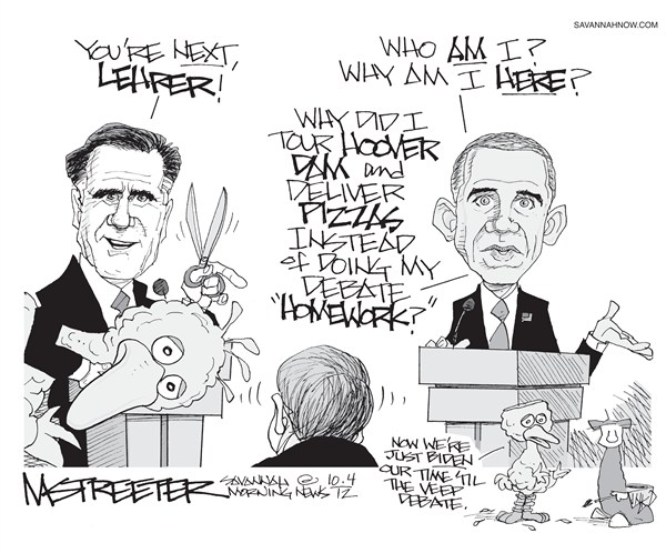Zings and Arrows © Mark Streeter,The Savannah Morning News,lehrer,pbs,funding,obama,romney,debate,winner,pbs11,romney-obama-debate