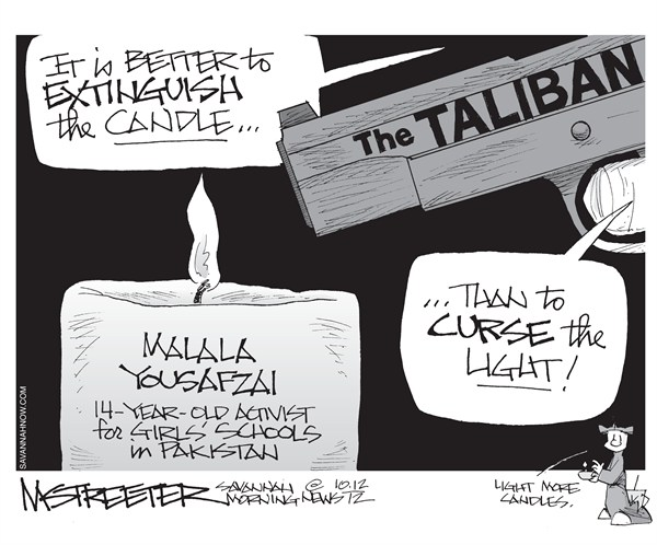 And a Child Shall Lead Them © Mark Streeter,The Savannah Morning News,malala yousafzai,activist,school,terror,child,taliban,shooting